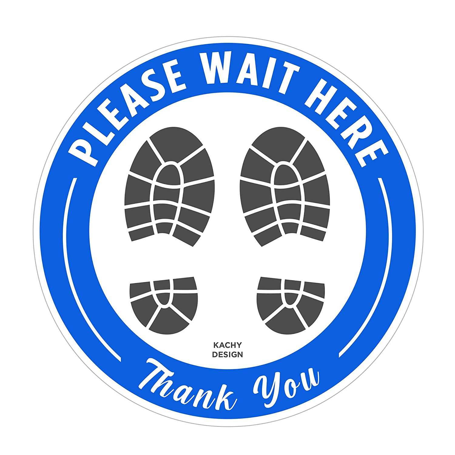 (Pack of 5) Wait Here - Social Distancing Decal for Tiles or Floor | 8