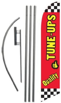 Quality Tune Ups Advertising Feather Banner Swooper Flag Sign with Flag Pole Kit and Ground Stake