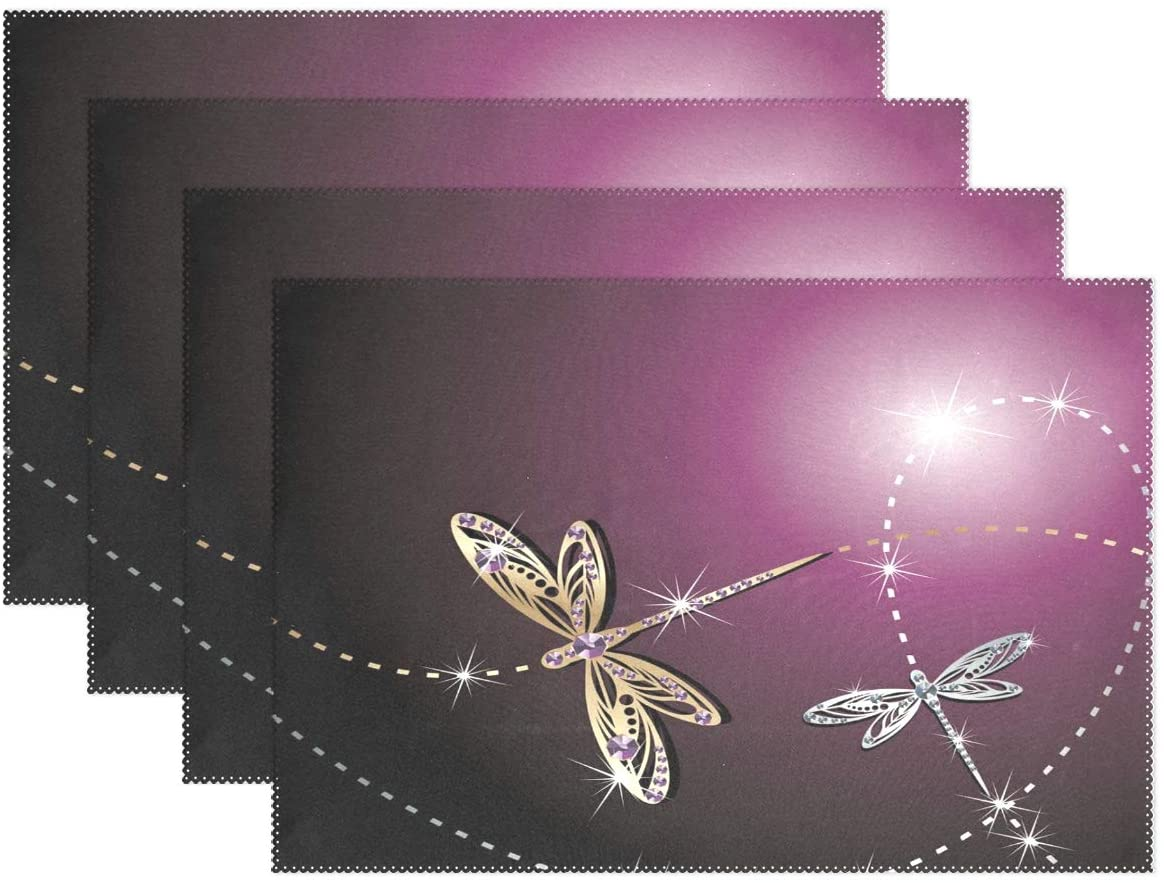 WOOR Dragonfly Placemats for Dining Table Heat Resistant Kitchen Table Decor Washable Table Mats Set of 6