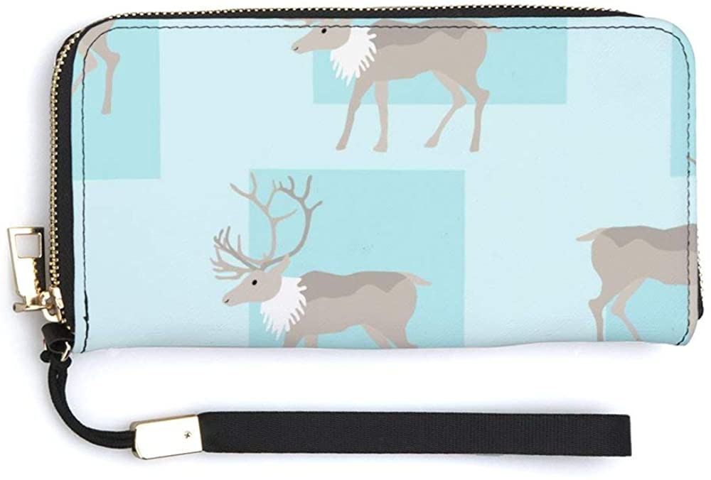 Women's Printed Wallet PU Leather Coin Purse Zip Around Phone Holder Clutch Large Handbag Travel Purse Wrist strap