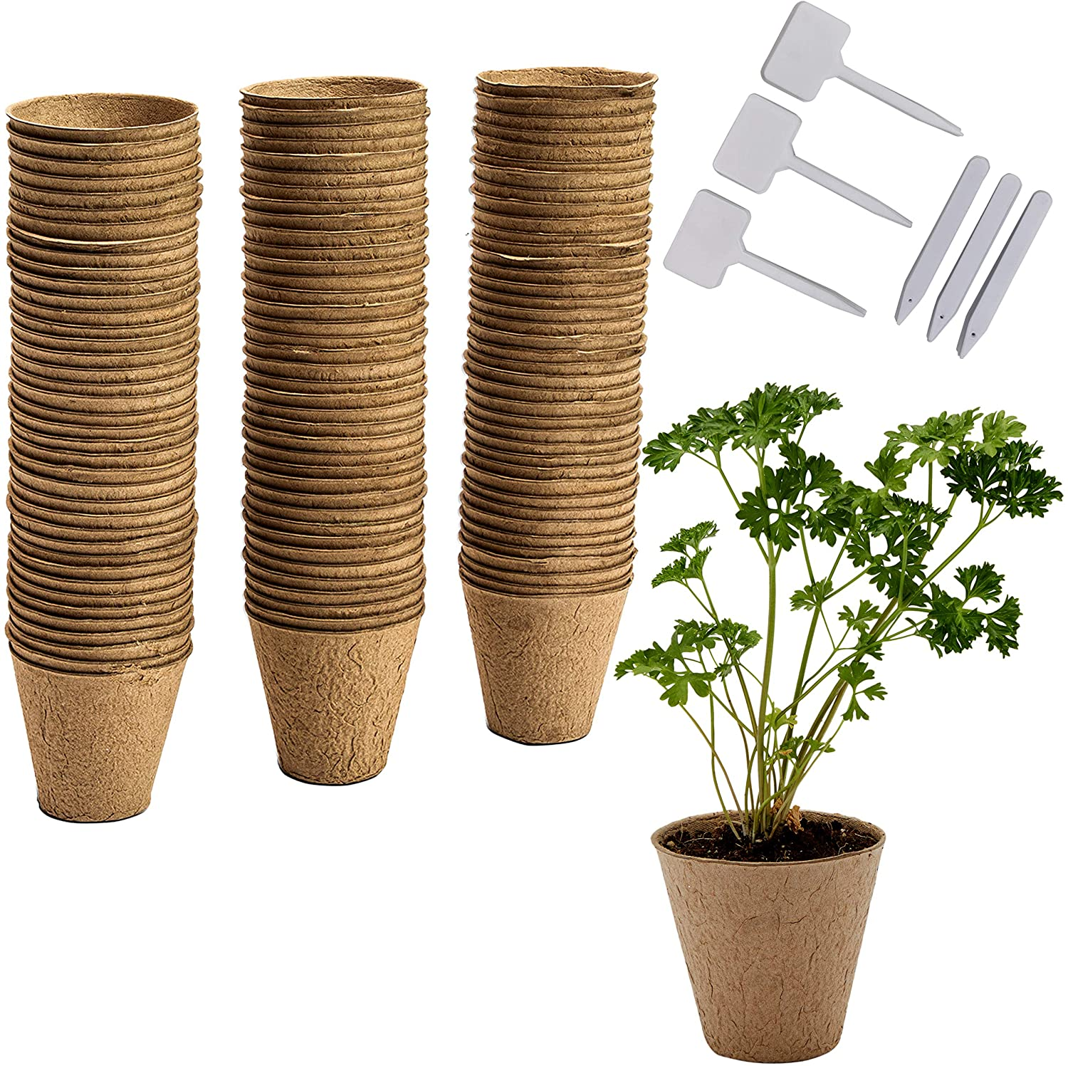 Round Peat Starter Pots with Plastic Plant Labels (3.15 x 3 in, 120 Pack)