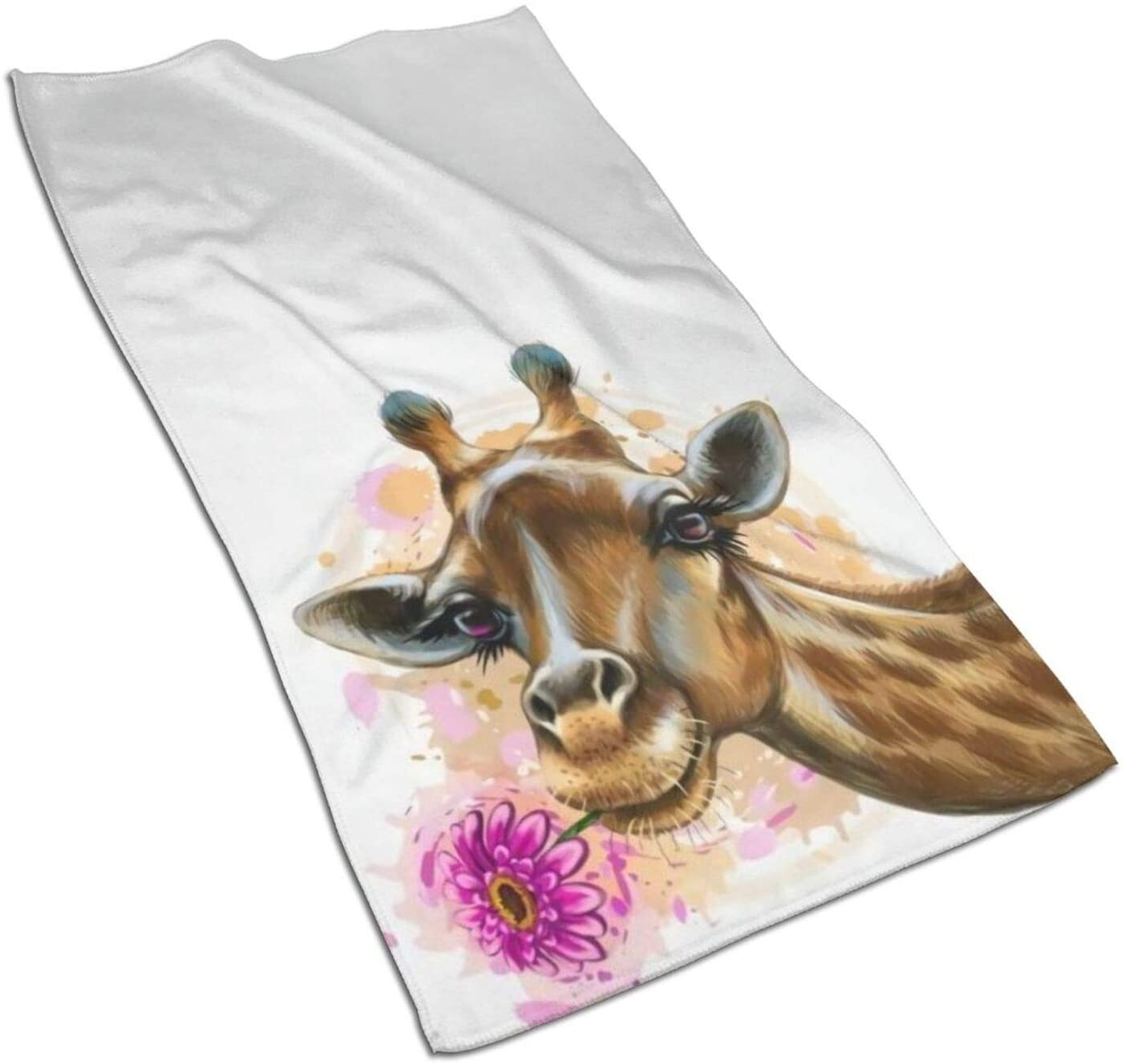 antcreptson Wamika Cute Giraffe with Daisy Flowers 15.727.5 Inch Ultra Absorbent Quick Dry Soft Towels for Bathroom, Hotel and Spa Quality