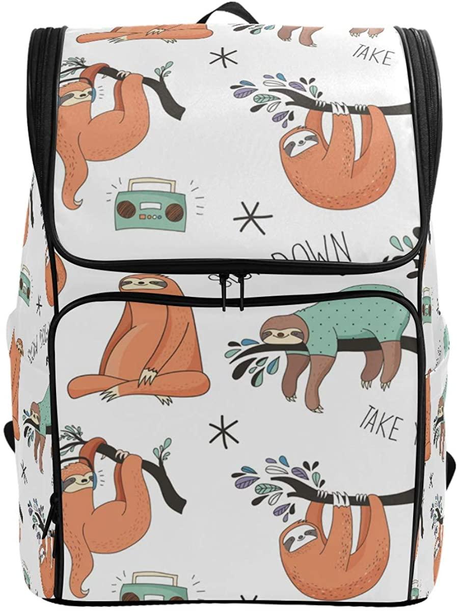 Kaariok Cute Sloth Cartoon Animal Tree Backpack Bookbags College Laptop Daypack Travel School Hiking Bag for Womens Mens