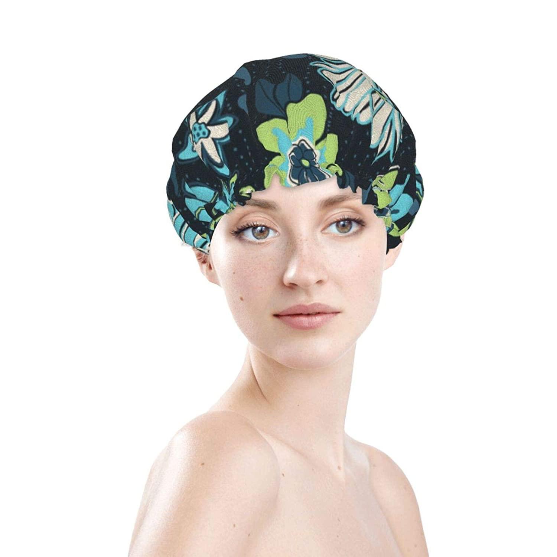 flowerReusable Shower Cap Double Waterproof Layer Luxury Large Bath Cap for Women Men Reusable Sleep Spa Salon Bonnet