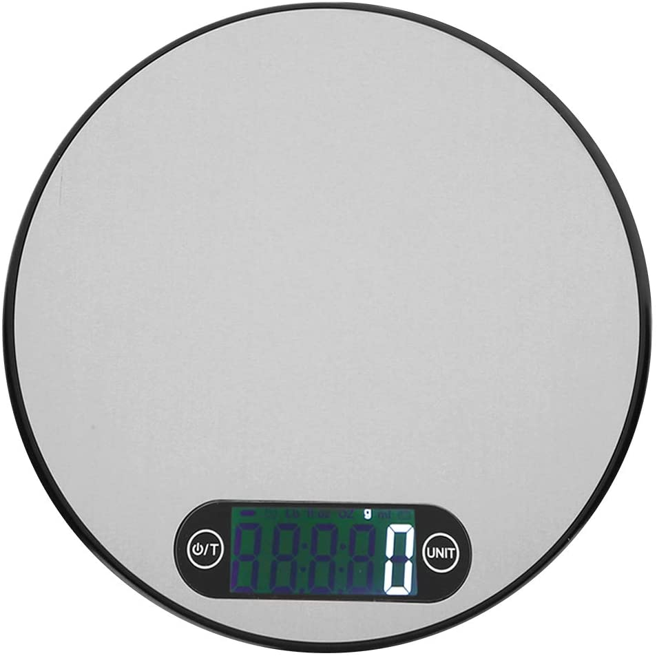 Digital Scale-Mini Stainless Steel Round Electronic Digital Scale Kitchen Baking Weight Accessories (5kg/1g)(Black)