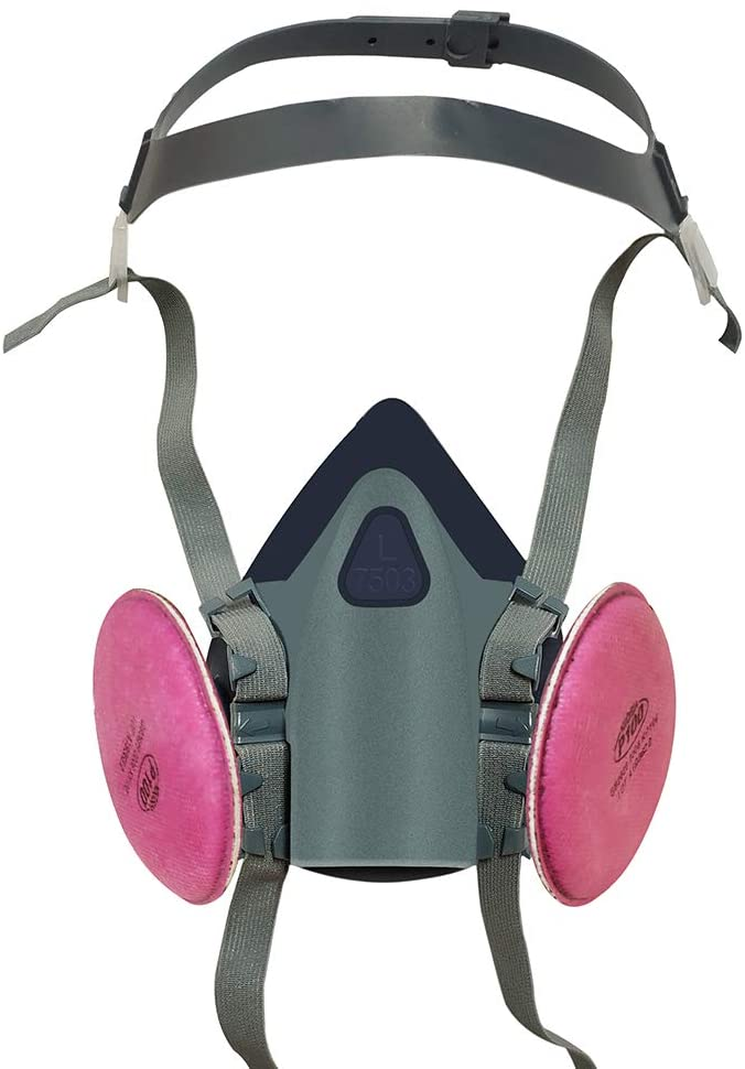 Suit for 7503 Half face medium-sized respirator, full face wide view, widely used in organic gases, paint fragments, chemistry, carpentry(7503:1 Pack)(2091: 2 PCS)