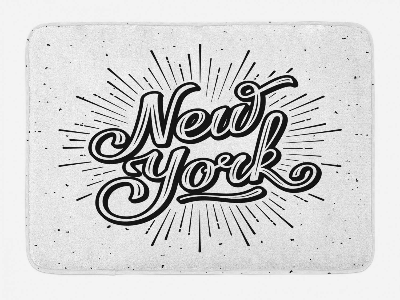 Ambesonne Vintage Bath Mat, New York Typography Star Burst Calligraphy Hand Written Hipster Lettering Artwork, Plush Bathroom Decor Mat with Non Slip Backing, 29.5 X 17.5, Monochrome