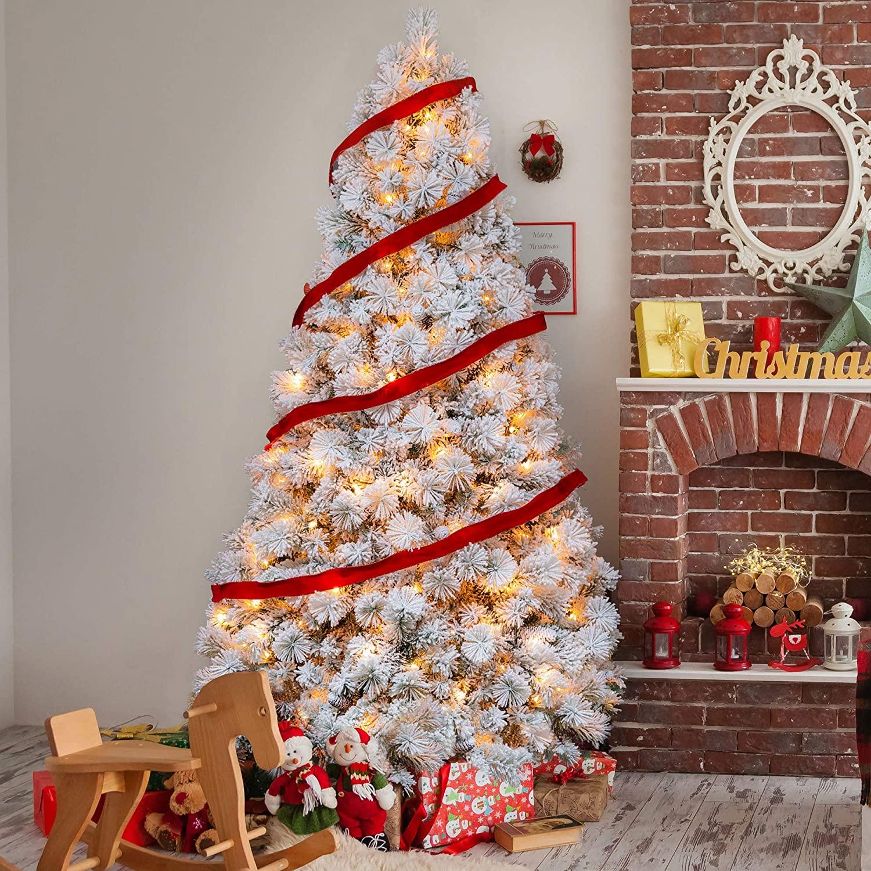 AMERZEST 7ft Pre-Lit Snow Flocked Artificial Christmas Tree, 350 Warm Lights,Snowy Pine Cone Decor …
