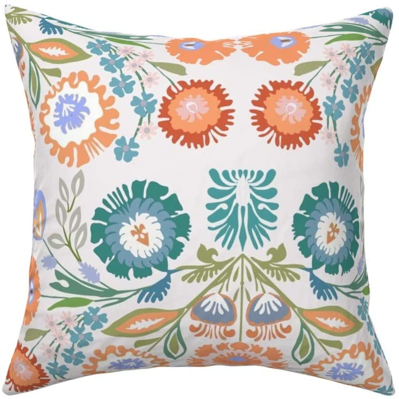 Roostery Throw Pillow, Pastel Floral Folk Art Inspired Polish Embroidery Look Traditional Heritage Bright Flowers Print, Linen-Cotton Canvas, Knife Edge Accent Pillow 18in x 18in Optional Insert