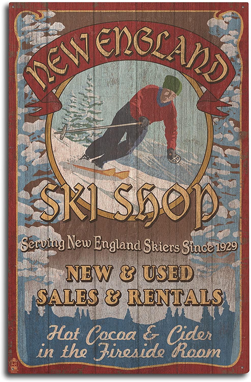 Lantern Press New England Ski Shop Vintage Sign (10x15 Wood Wall Sign, Wall Decor Ready to Hang)