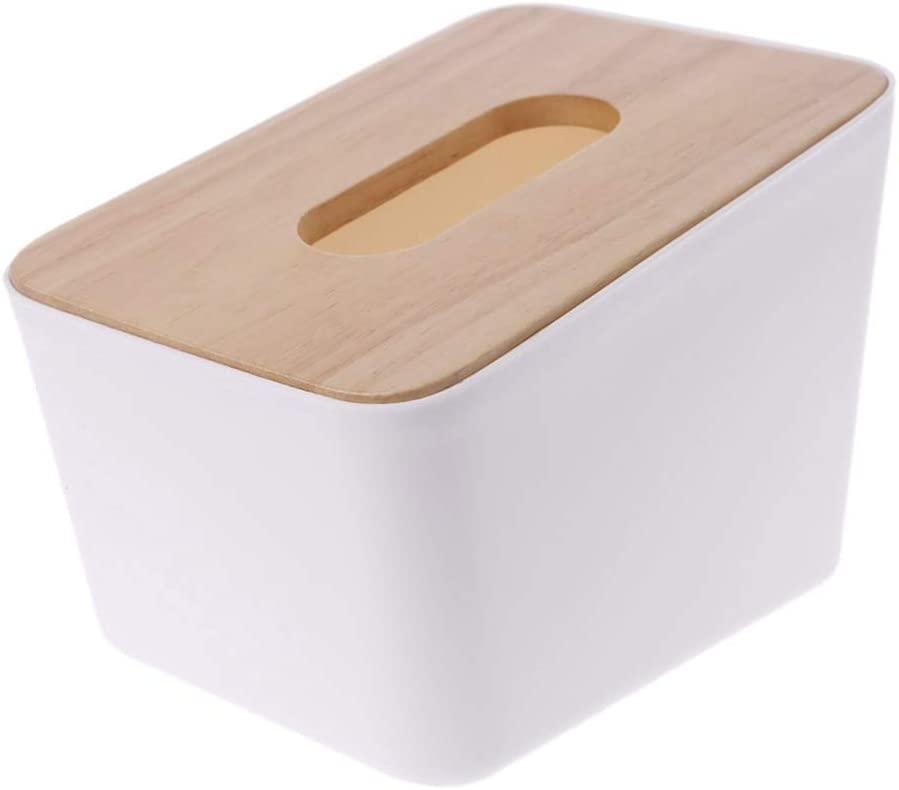 ZHIZHOU Tissue Box 1 Piece Wooden Cover Plastic Tissue Box Paper Home Car Holder Dispenser Organizer Decor White