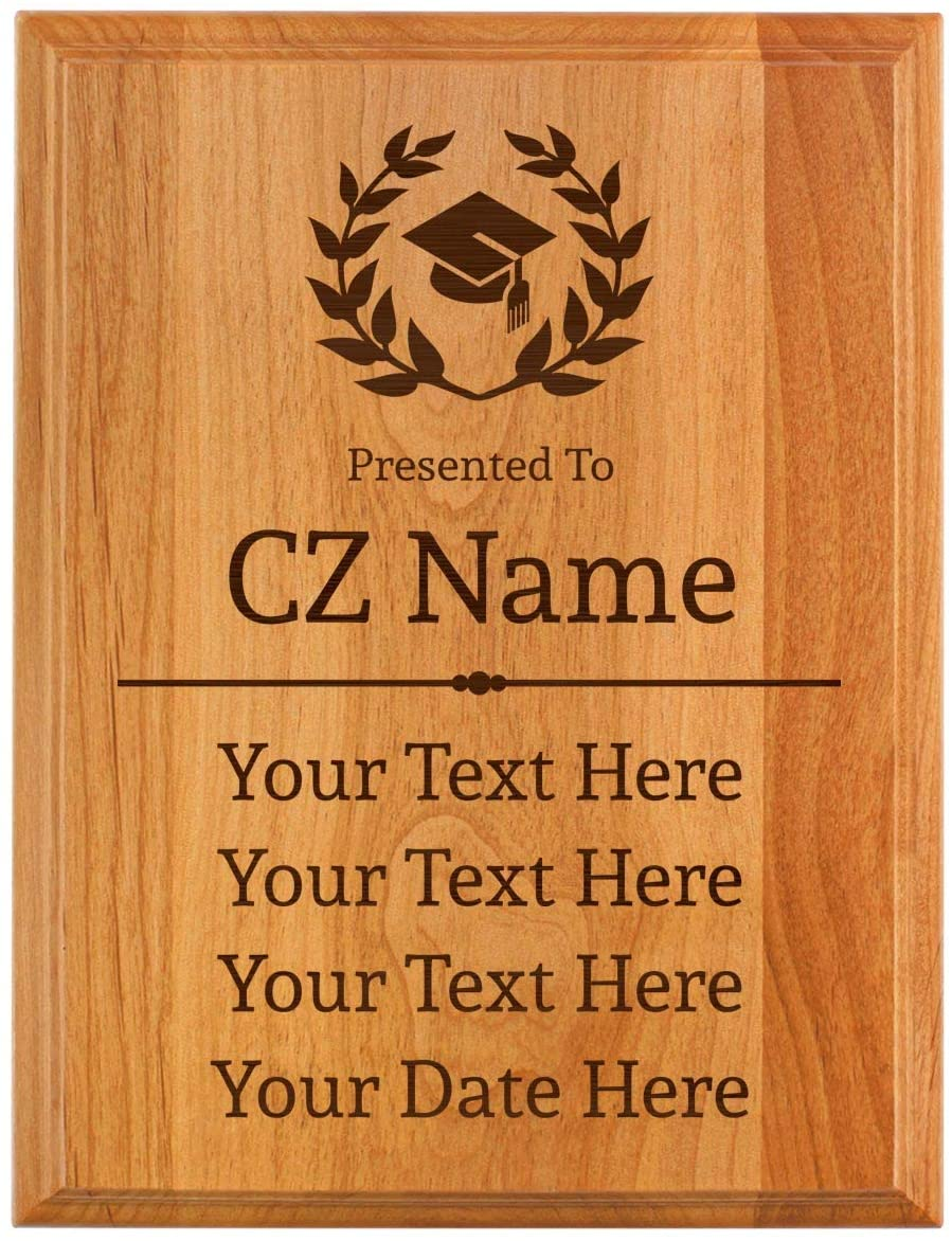 Grad Plaque Presented to Custom Name 5 Lines of Text Date Personalized 7x9 Oak Wood Engraved Plaque