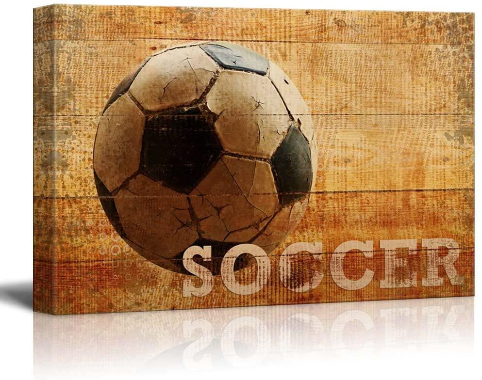 wall26 - Rustic Soccer - Futbol Vintage Wood Grain - Canvas Art Home Art - 24x36 inches