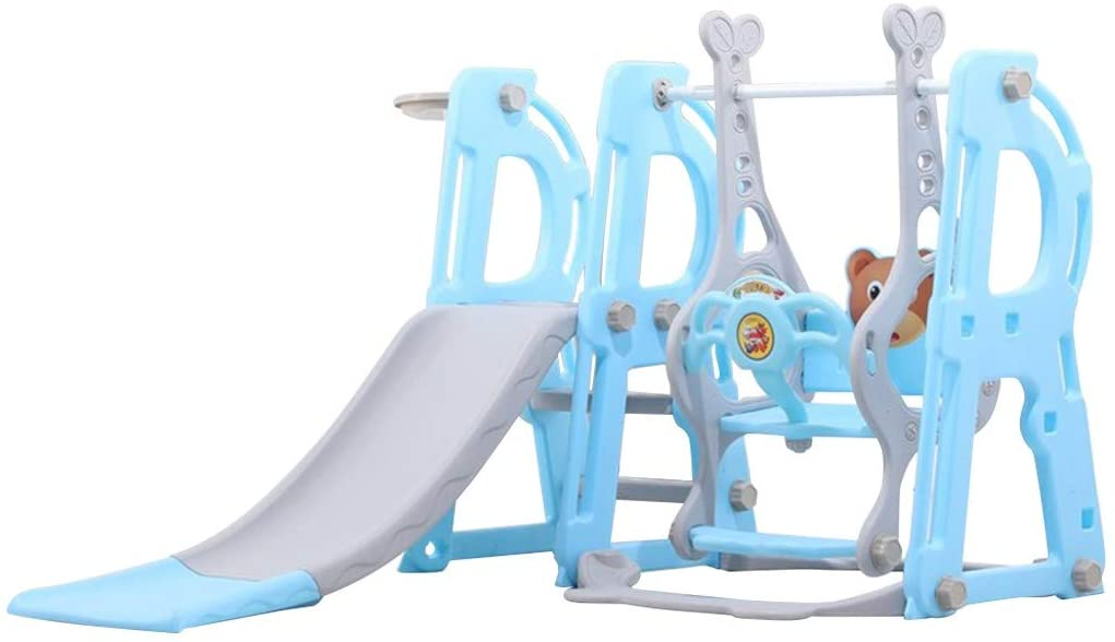 GFHFHITJ Toddler Climber and Swing Set - 3 in 1 Climber Sliding Playset w/Basketball Hoop - Indoor Outdoor Playground Toy - Xmas Gifts - Fast Shipment (Blue)