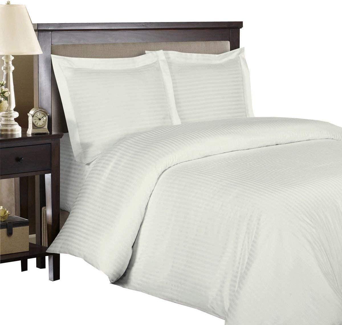 Royal Hotel Ultra Soft Duvet Cover Set, 3PC Duvet Set, Wrinkle-Free, Button Closer, Striped Sateen, Duvet Covers - Full/Queen - Ivory