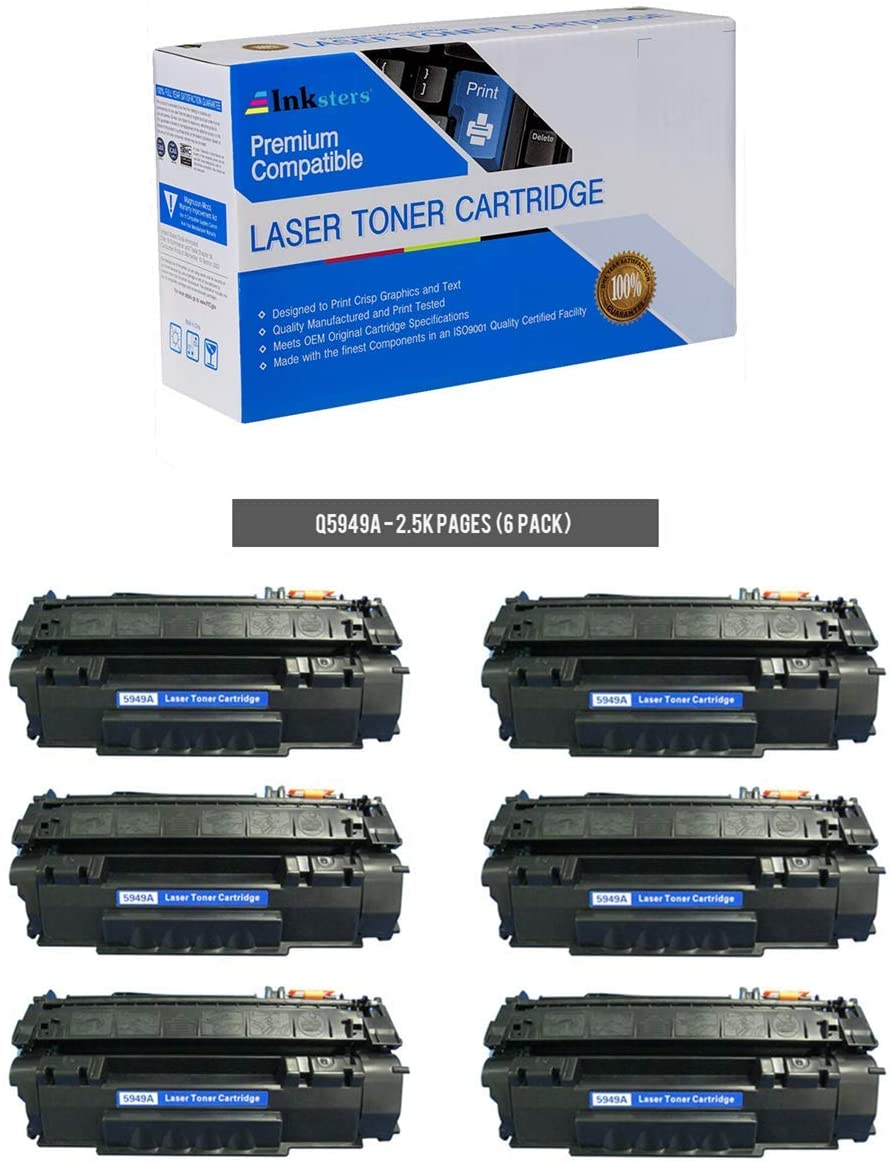Inksters Compatible Toner Cartridge Replacement for HP 49A (Q5949A) Black - Compatible with Laserjet 116013201320N1320NW1320TN33903397 (6 Pack)