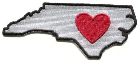 North Carolina Embroidered State Shaped and Heart Iron On Stick On Coat Shirt Pants Backpack Coat Jacket