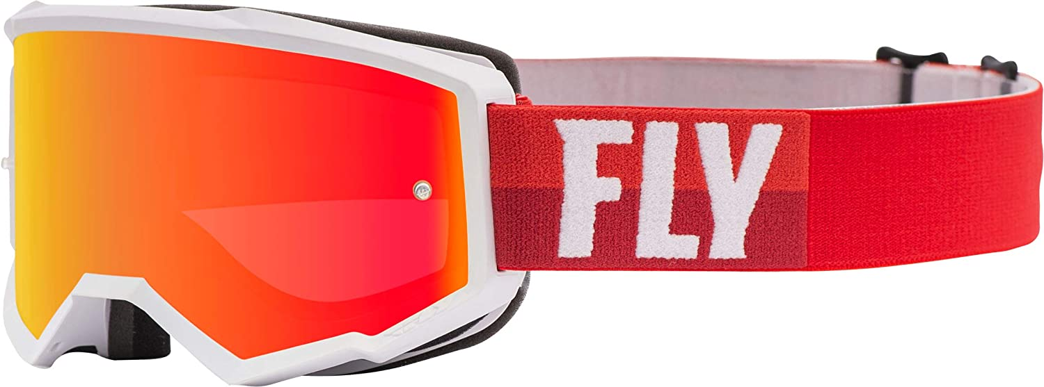 Fly Racing Zone with Post Youth Off-Road Motorcycle Goggles - White/Red/Red Mirror/Brown/One Size