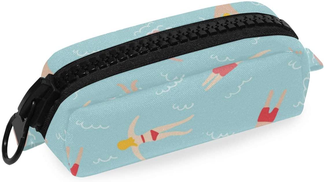 Canvas Zipper Pencil Case Swimming People Pen Bag Cosmetic Makeup Bag Pouch DIY Craft Bag
