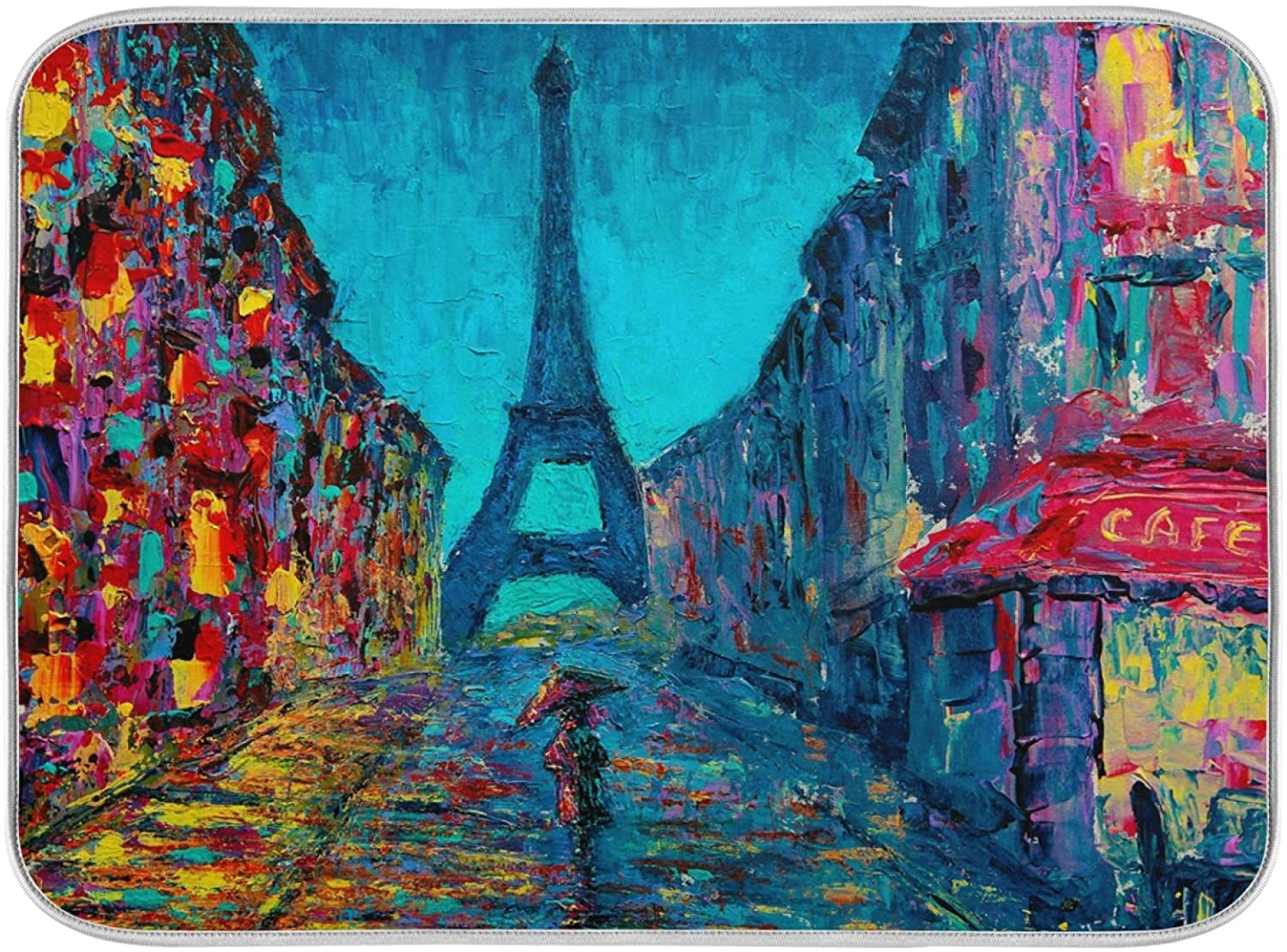 Dish Drying Mat for Kitchen Paris Art Oil Painting Absorbent Heat Resistant Dishes Drainer Pad 16 x 18 Inch