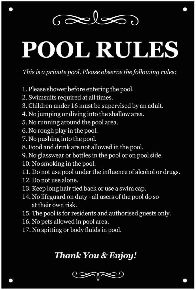 Swimming Pool Rules Wall Decor Metal Tin Sign 8x12 Inch