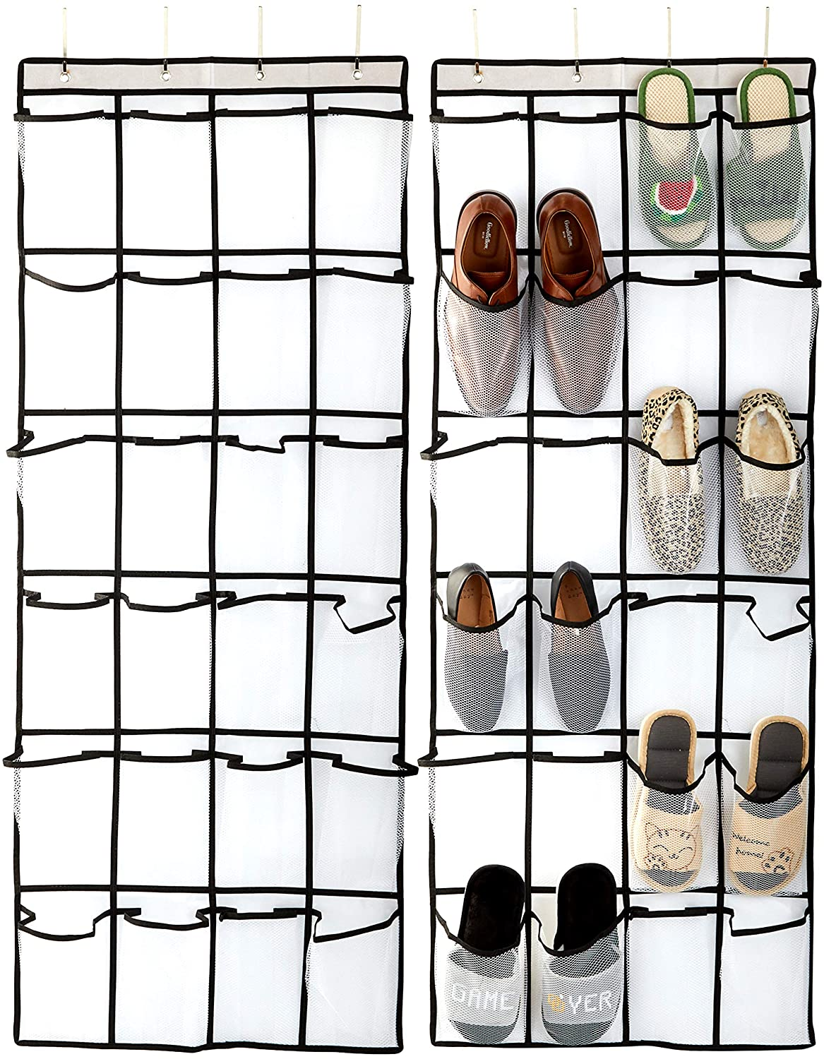 Okuna Outpost Over The Door Hanging Shoe Organizer, Mesh with 24 Pockets (22 x 56 in, 2 Pack)