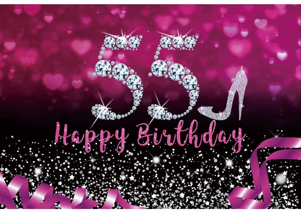 LFEEY 10x8ft Vinyl Women 55th Happy Birthday Party Photography Background Sparkle Diamond Silvery High Heels Purple Love Heart Glittering Facula Photo Backdrop Cake Table Banner Portrait Studio Props