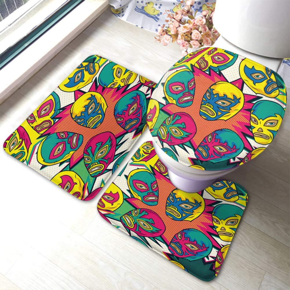Beabes Mexican Wrestler Bathroom Mat Colorful Angry Face Comic Cartoon Pop Combat Champion Design Not-Slip Toilet Rug Set 3 Piece Bathroom Anti-Skid Pad for Dining Room Polyester