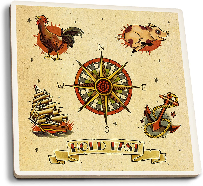 Lantern Press Tattoo Flash Sheet - Sailors (Set of 4 Ceramic Coasters - Cork-Backed, Absorbent)