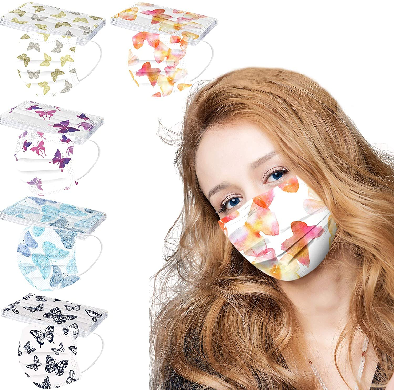 50Pcs Adult Butterfly Printed Disposable Face Masks Dustproof Windproof Face Bandanas_Covering_MASK for Women and Men, Fashion Multicolor Breathable Face Scarf Three-Layer Cotton Fabric - US Stock