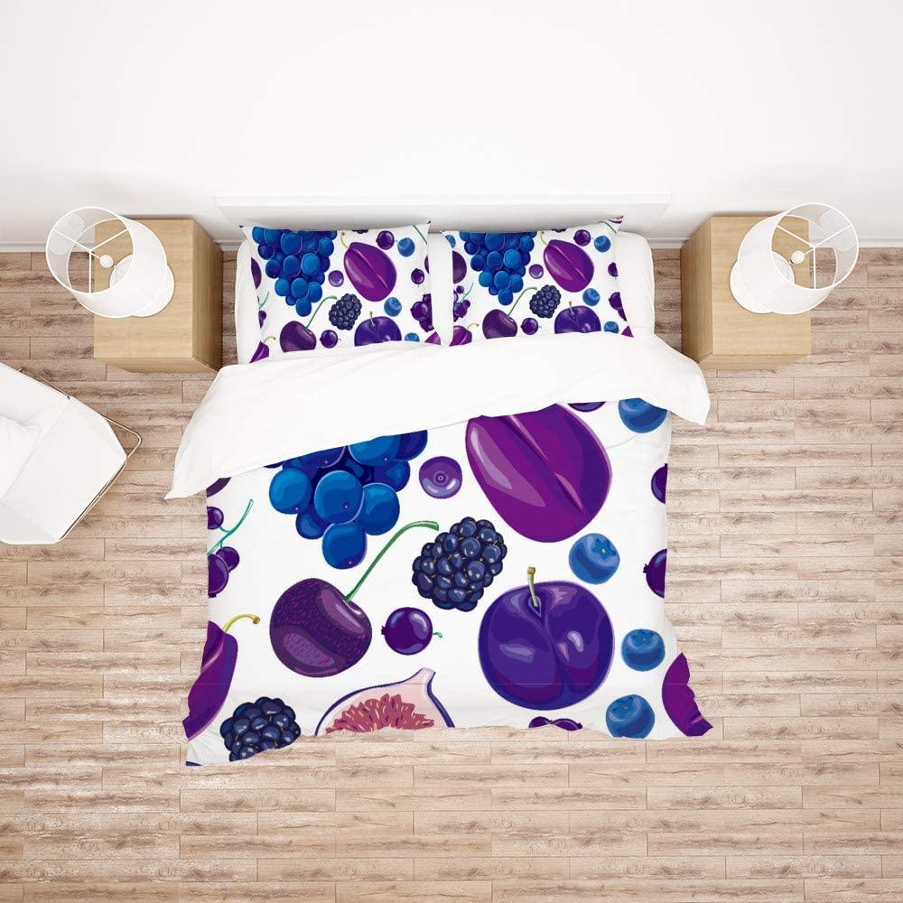 Bedding Duvet Cover Set Bed Microfiber Down Comforter Quilt Cover with Zipper & Tie Ultra Breathable Soft,3pcs-1 Duvet Cover/2 Pillow Shams (Purple Fruit Grapes)