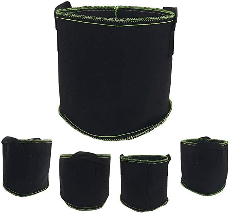 CYLJY-Plant Fabric Pots Planting Bags, 5 Pcs Non-Woven Fabric Grow Bags, Black Breathable Fabric Seedling Bag Environmental Protection Can be Used to Grow Vegetables, Flowers,Black,70X50cm