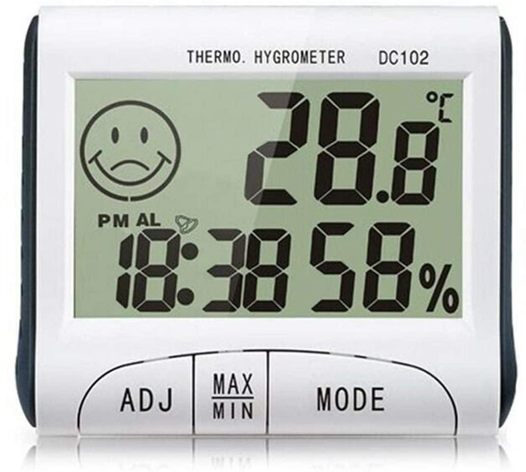 Eurobuy Hygrometer Indoor Thermometer, Desktop Digital LCD Thermometer Hygrometer Temperature Humidity Meter Clock for Home Garage Greenhouse