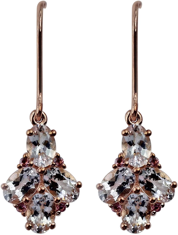 Carillon Morganite Oval Shape Gemstone Jewelry 10K, 14K, 18K Rose Gold Drop Dangle Earrings For Women/Girls