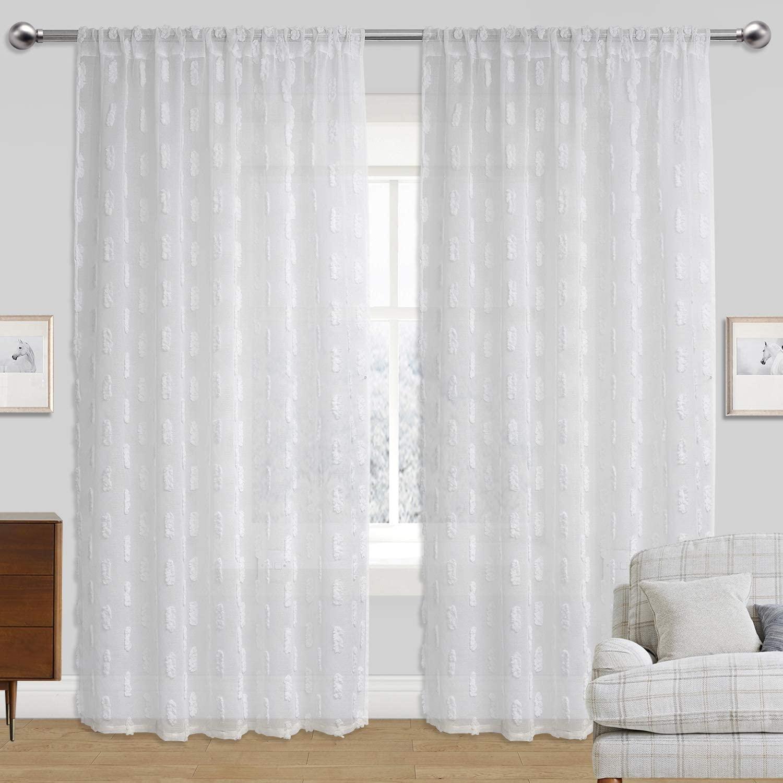 Kingria Pom Pom Sheer Curtain Rod Pocket for Girls Kids Living Bedroom 2 Panels Voile Sheer Texture Window Treatment (White, W54 x L63)