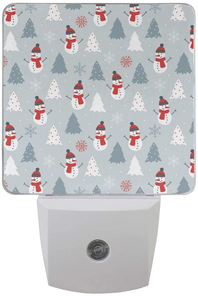 Printing Christmas Tree Snowman Patterns on Plug-in LED Night Light Warm White Nightlight for Bedroom Bathroom Hallway Stairways(0.5W 2-Pack)