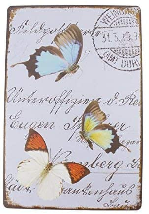 12x8 Inches Pub,bar,Home Wall Decor Souvenir Hanging Metal Tin Sign Plate Plaque (Butterflies)