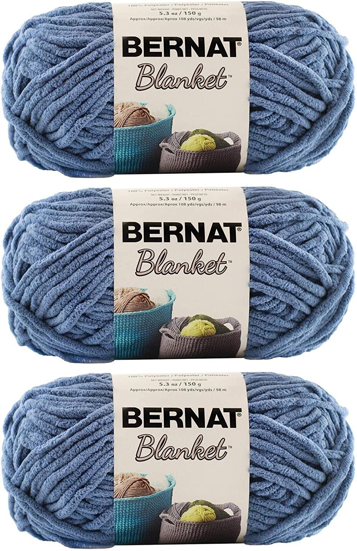Bulk Buy: Bernat Blanket Yarn (3-Pack) Super Bulky #6 5.3 Ounce 108 Yards Per Skein (Country Blue)