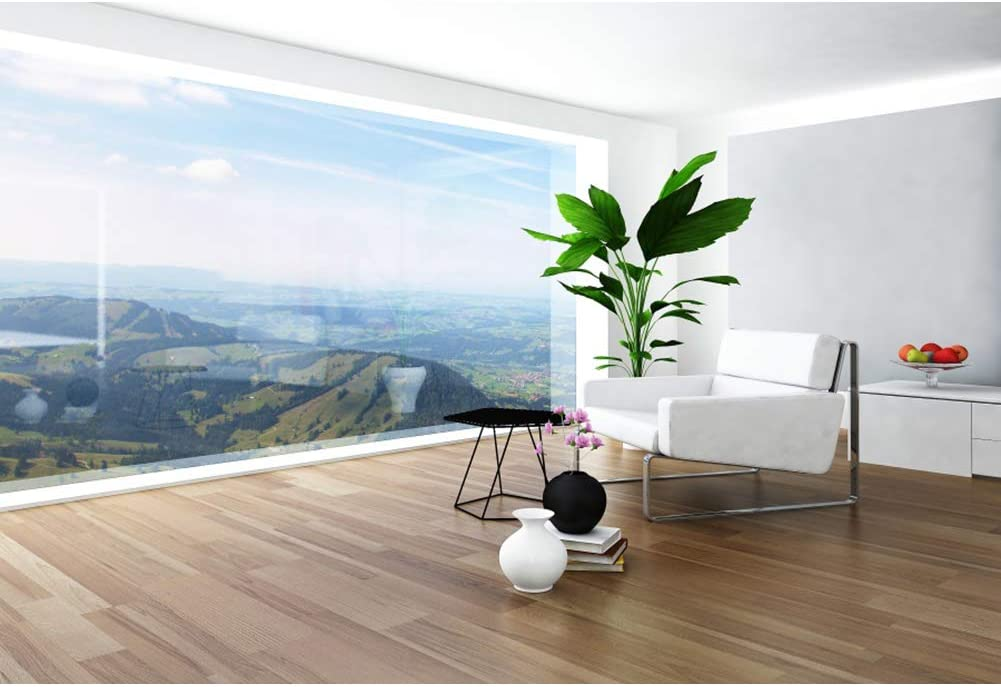 CSFOTO 10x7ft Interior Room Backdrop White Sofa French Wooden Floor Windows View Moutain Natural Scenery Living Room Decor Background for Photography Office Decor Backdrop