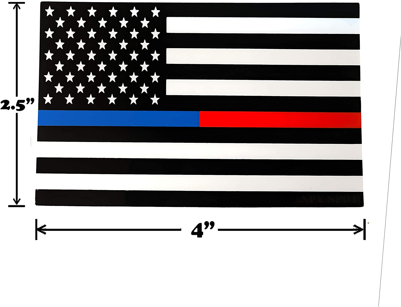 Spy Spot Set of 4 American Flag USA Blue Line Support Law Enforcement Blue Lives Matter Red Line Support Firefighters Weatherproof UV Resistant 4 x 2.5