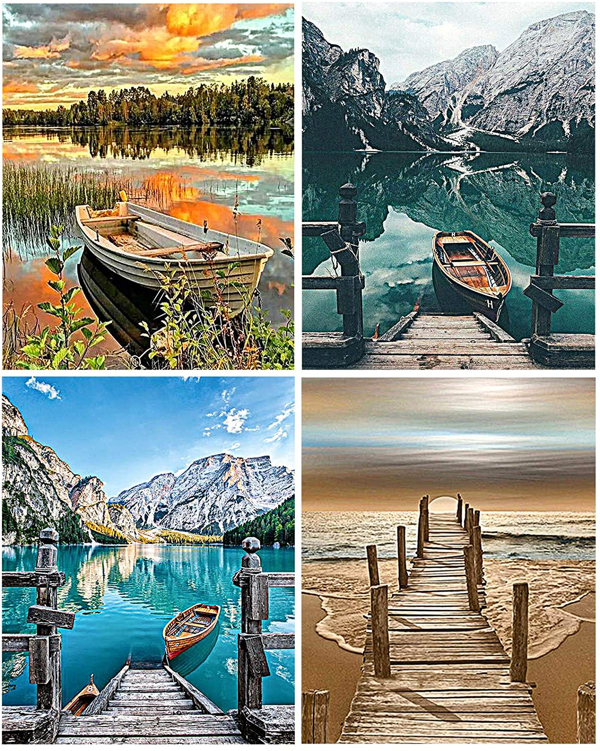 Aodaer 4 Pack DIY Numbers Oil Painting Pre-Printed Canvas Painting Lakeside Boat Beginner Painting for Home Wall Decor, 16 x 20 Inch
