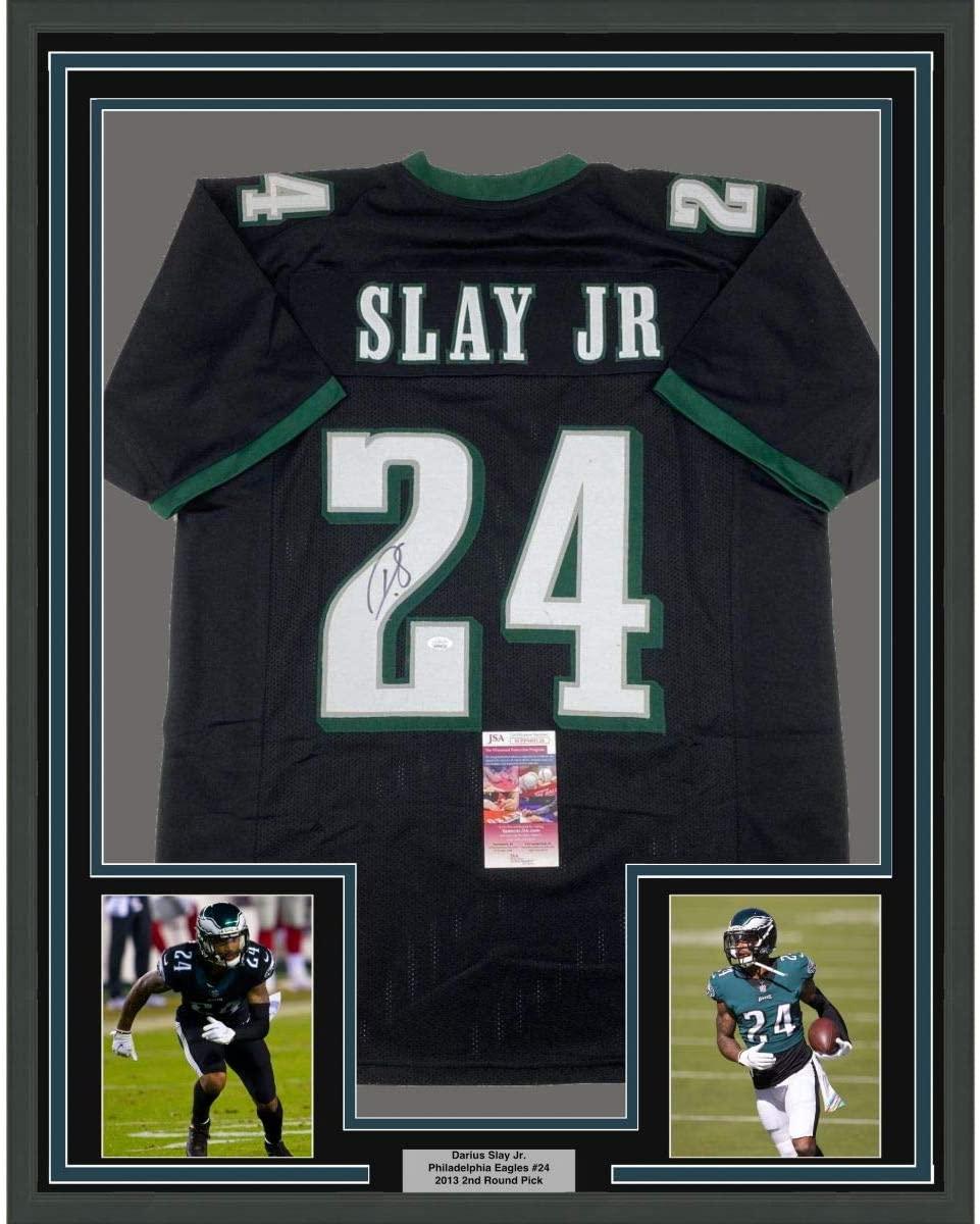 Framed Autographed/Signed Darius Slay Jr. 33x42 Philadelphia Black Football Jersey JSA COA