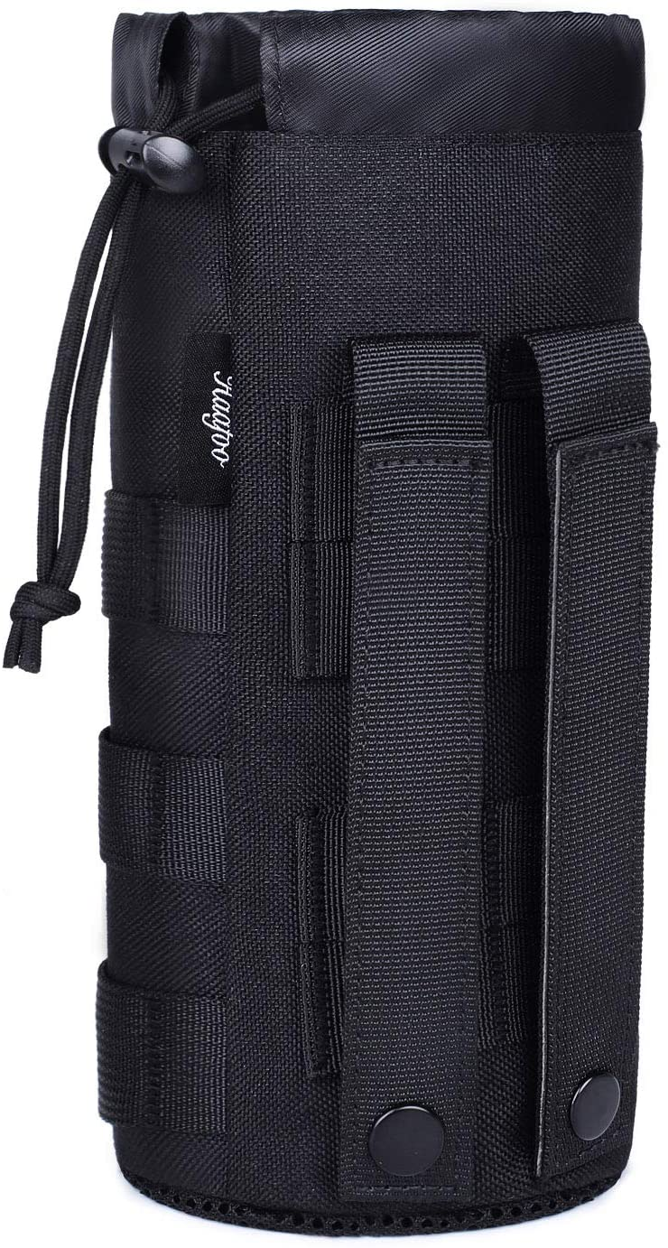 Haafoo Molle Water Bottle Pouch, Upgraded 1000D Nylon Tactical Molle Water Bottle Holder, Sports Water Bottle Bag Bottom Mesh Lining Hydration Carrier for Camping, Climbing, Hiking and Travelling
