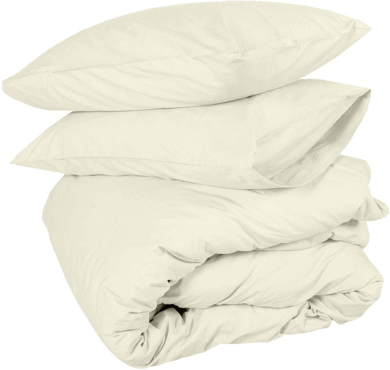 Duvet Cover set King Oversize 120X98 Ivory Comforter Cover Bedding 3 Pieces Duvet Set (1 Duvet Cover + 2 Pillow Covers) 400 Thread Count Zipper Closure Duvet Cover(Oversize King 120X98, Ivory Solid)