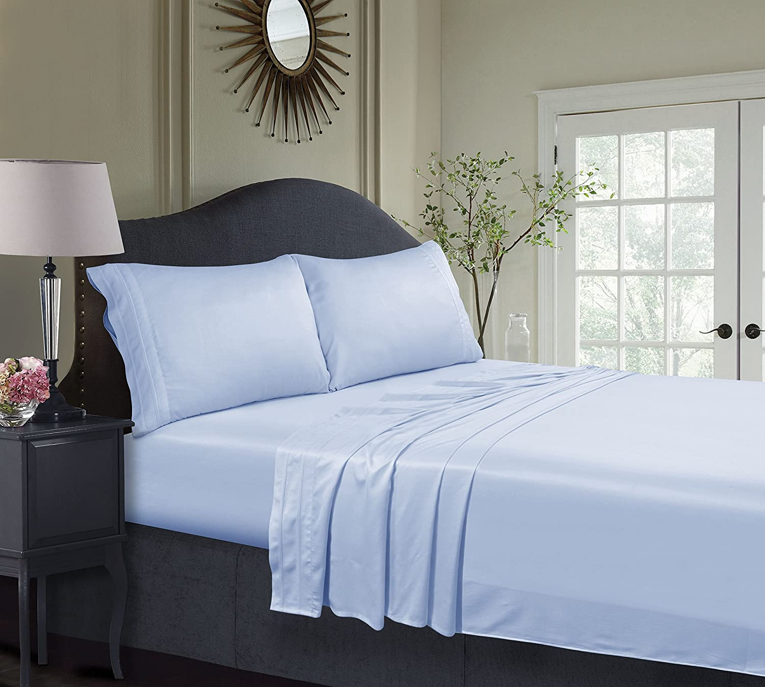 Tribeca Living BAMB300SSQUBL 300 TC Rayon from Bamboo Deep Pocket Sheet Set, Queen, Spa Blue