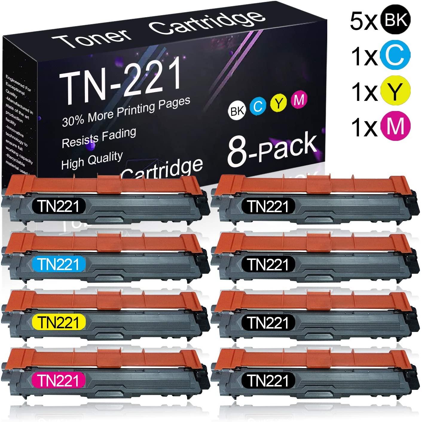 8 Pack TN221 (5BK+1C+1Y+1M) Compatible Toner Cartridge Replacement for Brother HL-3140CW/ 3150CDN/ 3170CDW/ 3180CDW, MFC-9130CW/ 9140CDN/ 9330CDW/ 9340CDW, DCP-9015CDW/ 9020CDN Printers.