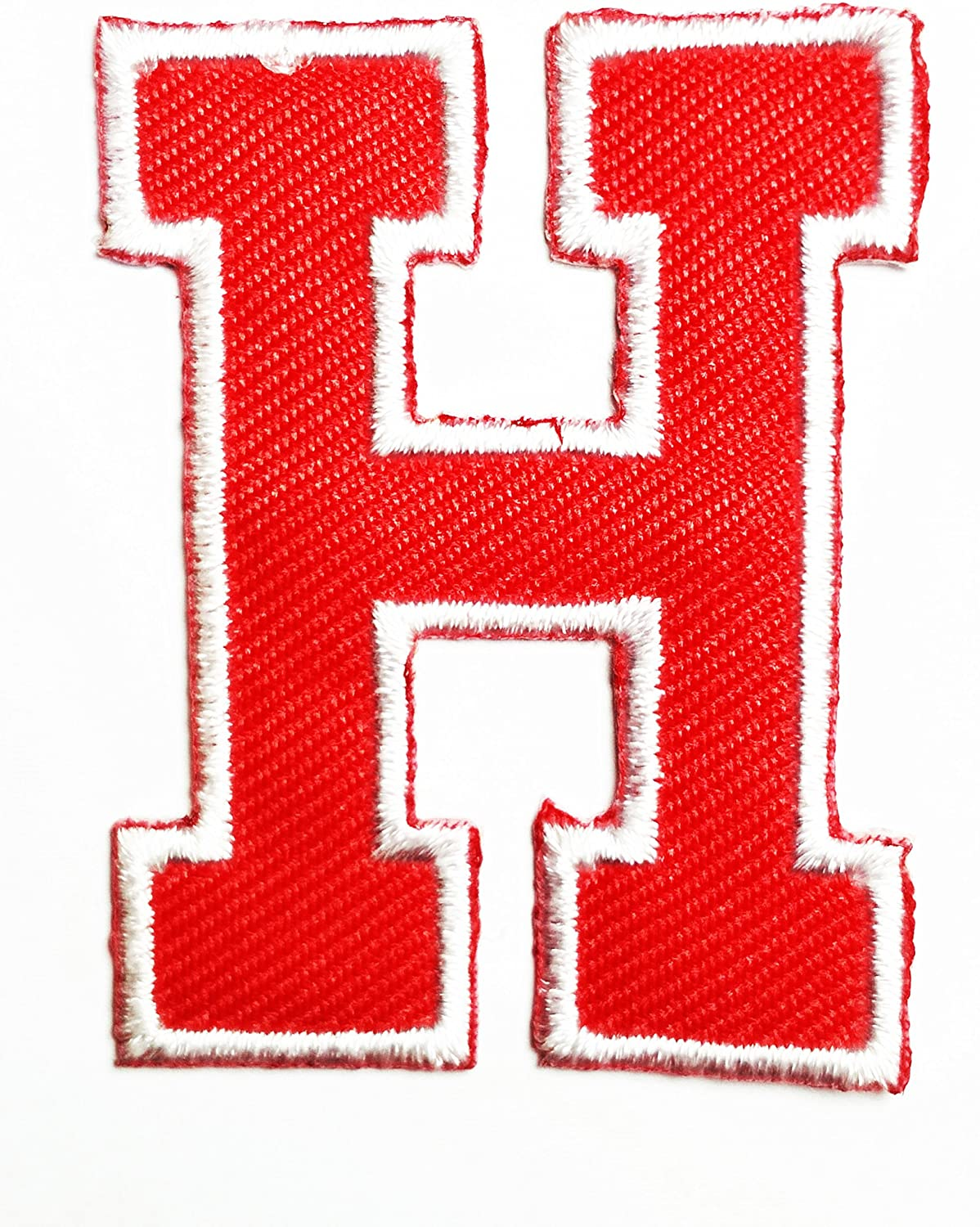 HHO Red letter H Patch English Alphabet Character Embroidered DIY Patches, Cute Applique Sew Iron on Kids Craft Patch for Bags Jackets Jeans Clothes