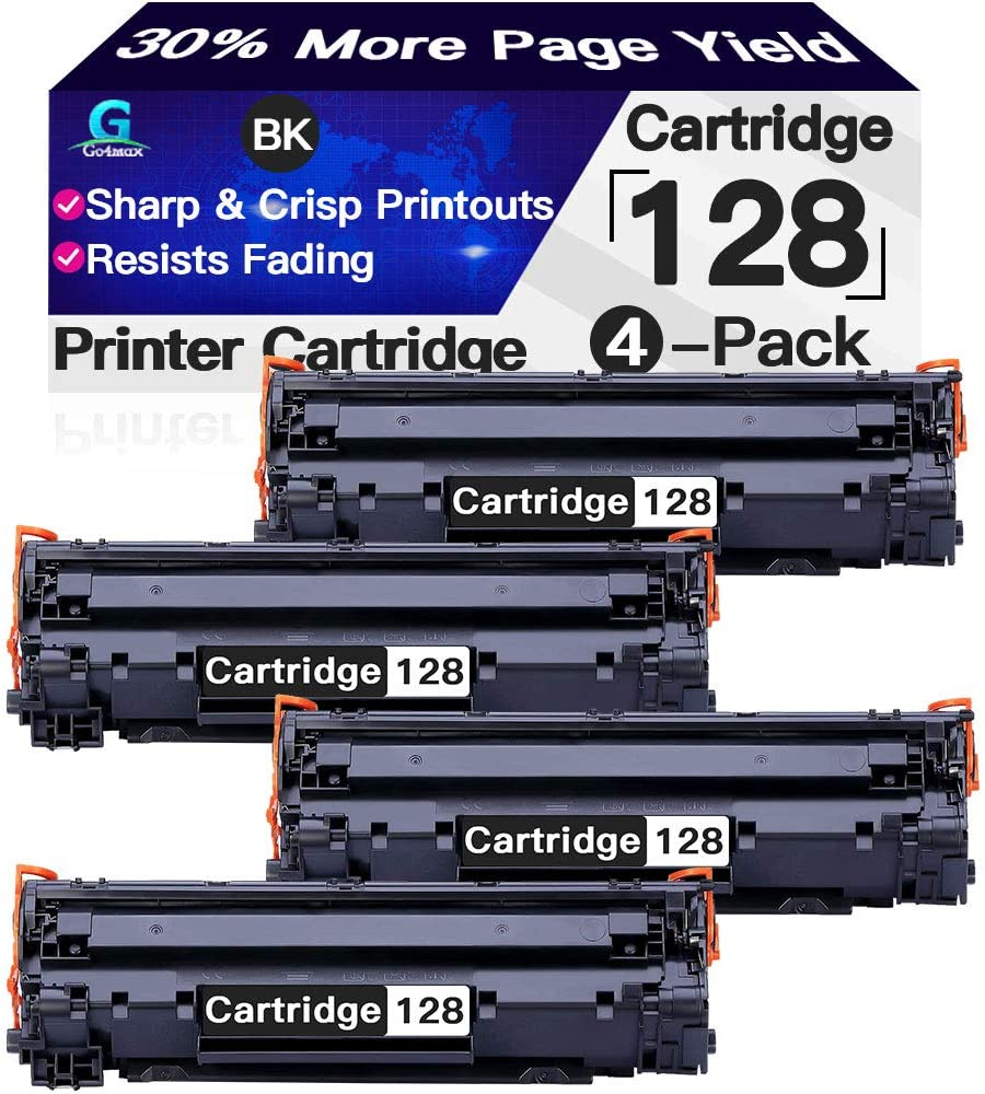Compatible 4-Pack CRG128 Toner Cartridge 128 Used for Canon ImageCLASS MF4580dn MF4770n MF4890dw MF4880dw MF4450 MF4570dw D530 (Black), Sold by Go4max