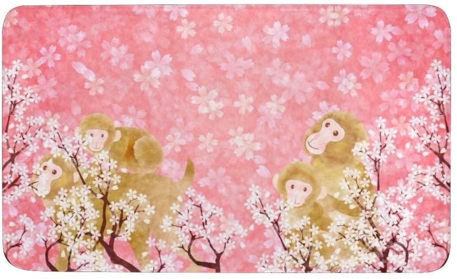 CUXWEOT Indoor Outdoor Doormat Non-Slip Backing Ultra Absorbent Mud Monkey Pink Cherry Blossom Door Mat Home Office Decorative Entry Rug Garden Kitchen Mats 23.6 x15.7 Inch