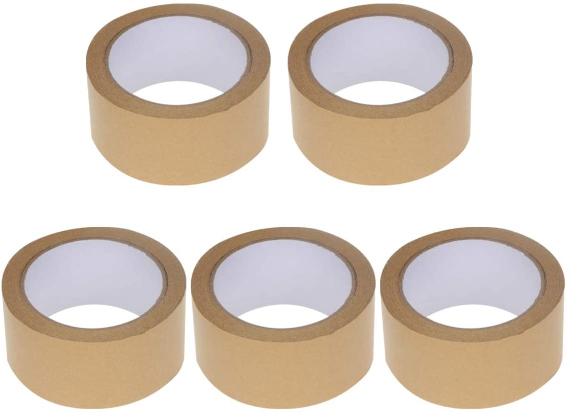 NUOBESTY Reinforced Gummed Tape Brown Kraft Paper Tape Water Activated Packing Sealing,2 Inches x 82 Feet,5 Pack